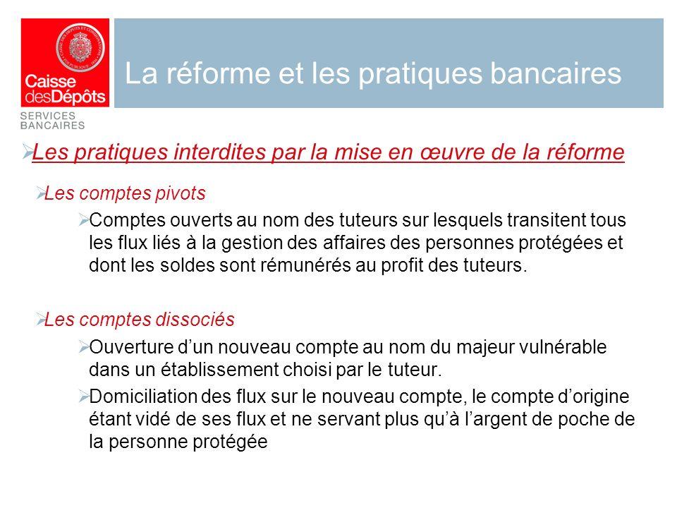 La réforme et les pratiques bancaires Les pratiques interdites par la mise en œuvre de la réforme Les comptes pivots Comptes ouverts au nom des tuteur