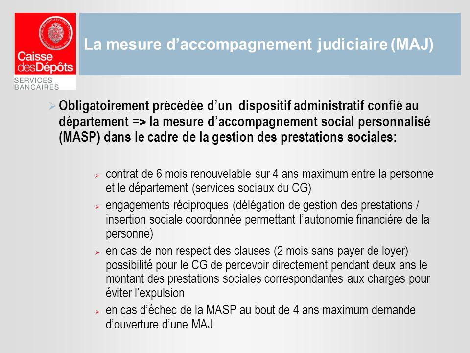 La mesure daccompagnement judiciaire (MAJ) Obligatoirement précédée dun dispositif administratif confié au département => la mesure daccompagnement so