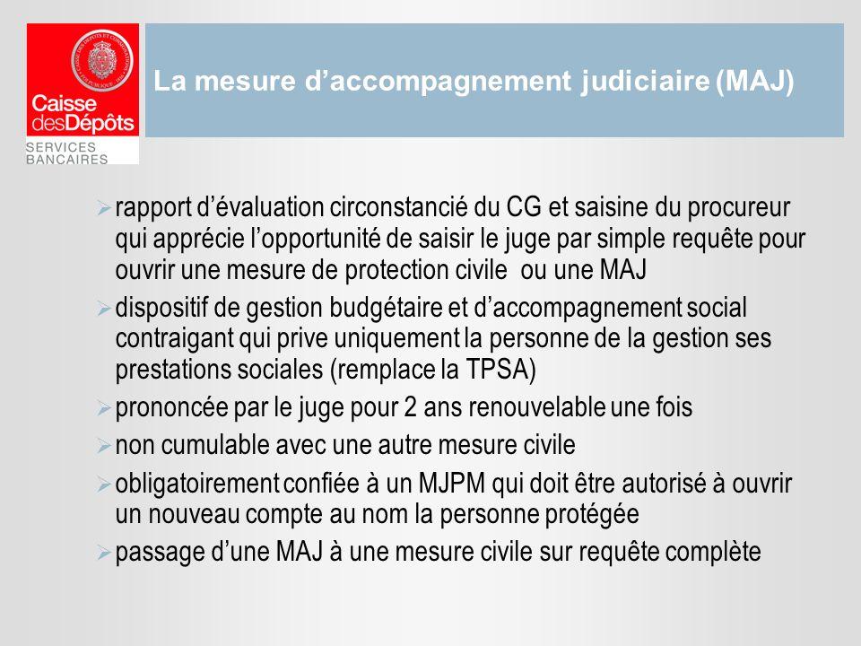 La mesure daccompagnement judiciaire (MAJ) rapport dévaluation circonstancié du CG et saisine du procureur qui apprécie lopportunité de saisir le juge