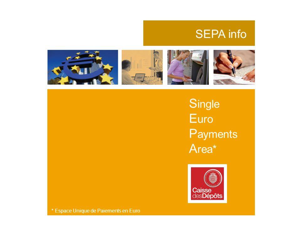 SEPA info S ingle E uro P ayments A rea* * Espace Unique de Paiements en Euro