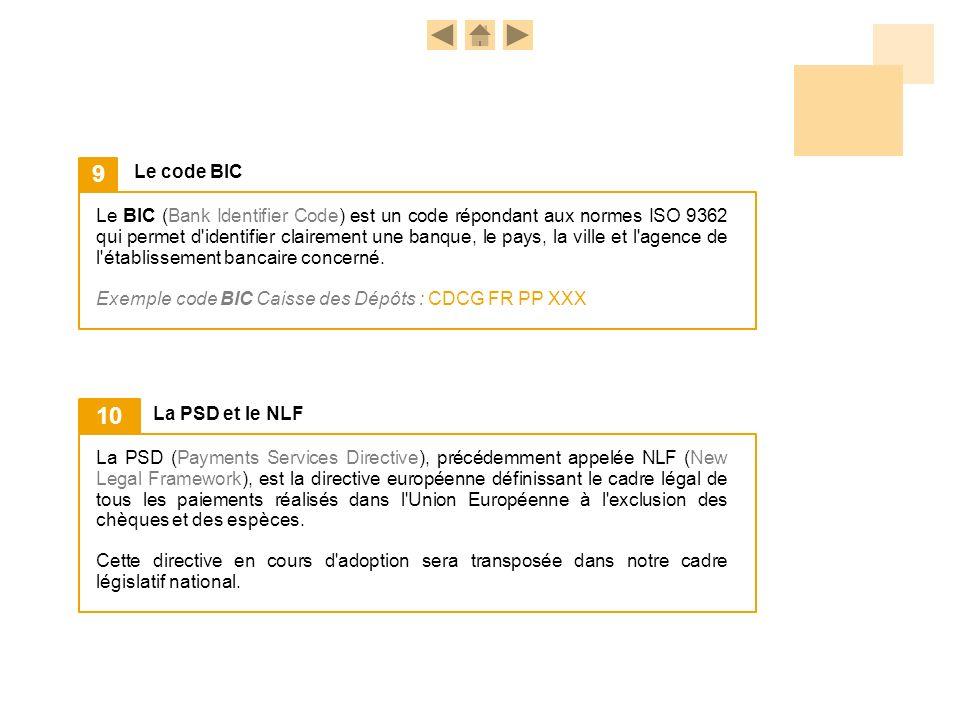 Le BIC (Bank Identifier Code) est un code répondant aux normes ISO 9362 qui permet d'identifier clairement une banque, le pays, la ville et l'agence d