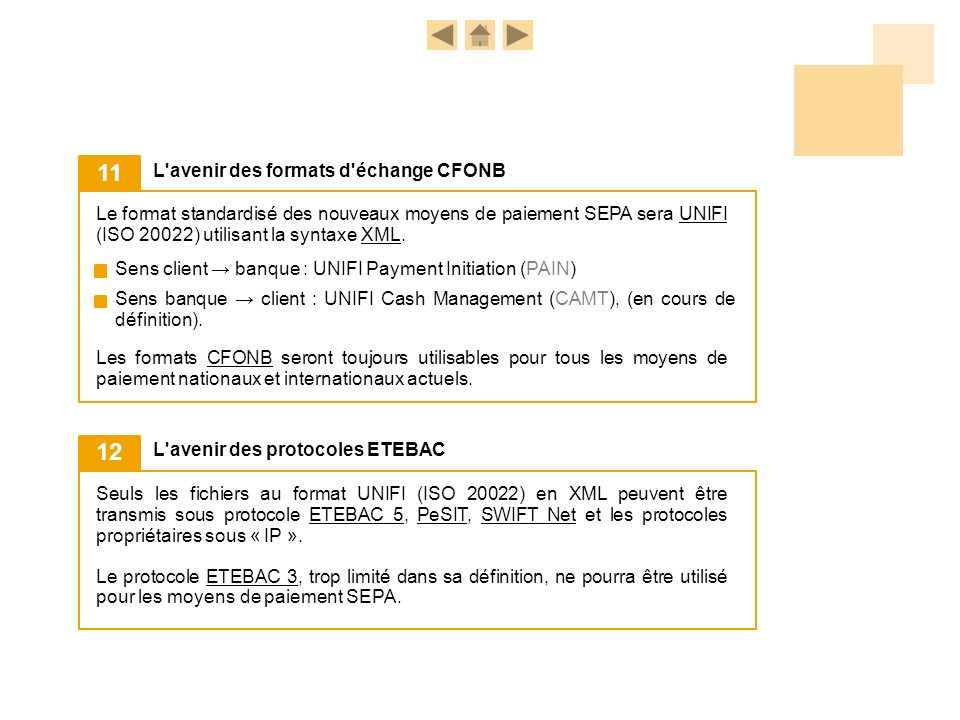 Le format standardisé des nouveaux moyens de paiement SEPA sera UNIFI (ISO 20022) utilisant la syntaxe XML.UNIFIXML L'avenir des formats d'échange CFO