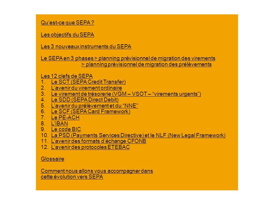 Quest-ce que SEPA ? Les objectifs du SEPA Les 3 nouveaux instruments du SEPA Le SEPA en 3 phases > planning prévisionnel de migration des virements >