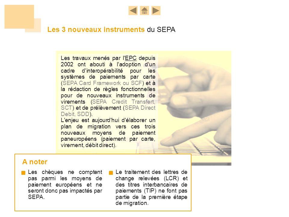 Les 3 nouveaux instruments du SEPA Les travaux menés par l'EPC depuis 2002 ont abouti à l'adoption d'un cadre d'interopérabilité pour les systèmes de