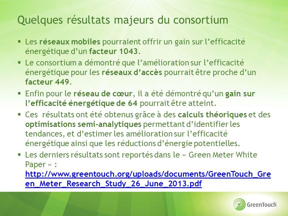 Quelques résultats majeurs du consortium Les réseaux mobiles pourraient offrir un gain sur lefficacité énergétique dun facteur 1043.