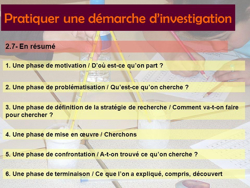 2.7- En résumé Pratiquer une démarche dinvestigation 1.
