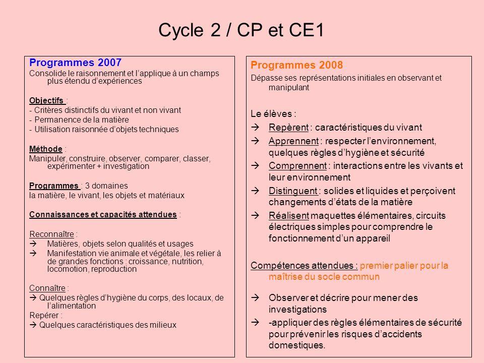 Cycle 2 / CP et CE1 Programmes 2007 Consolide le raisonnement et lapplique à un champs plus étendu dexpériences Objectifs : - Critères distinctifs du