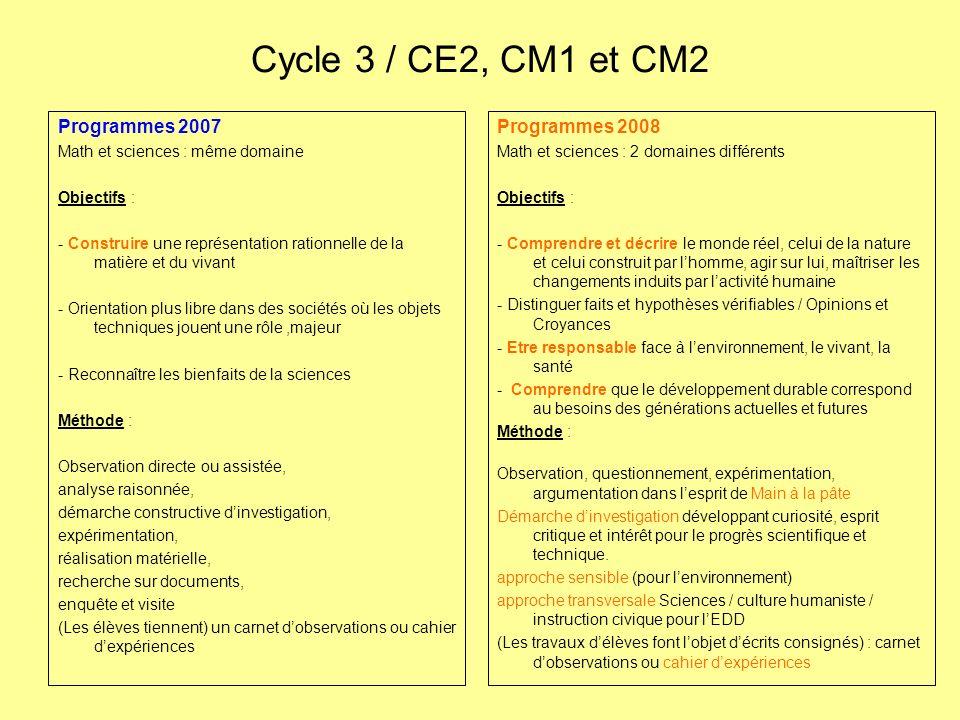 Cycle 3 / CE2, CM1 et CM2 Programmes 2007 Math et sciences : même domaine Objectifs : - Construire une représentation rationnelle de la matière et du