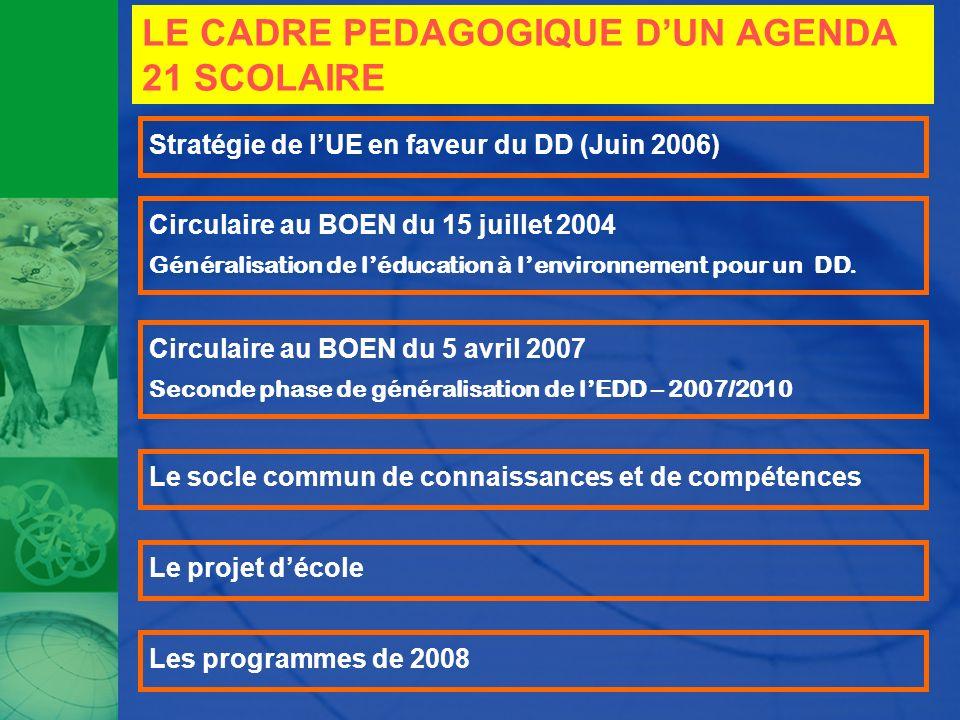 LE CADRE PEDAGOGIQUE DUN AGENDA 21 SCOLAIRE Stratégie de lUE en faveur du DD (Juin 2006) Circulaire au BOEN du 15 juillet 2004 Généralisation de léduc
