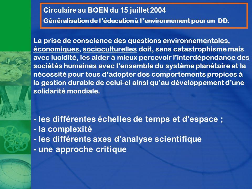 Circulaire au BOEN du 15 juillet 2004 Généralisation de léducation à lenvironnement pour un DD. La prise de conscience des questions environnementales