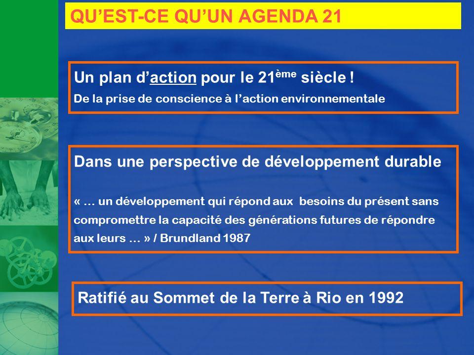 QUEST-CE QUUN AGENDA 21 Un plan daction pour le 21 ème siècle ! De la prise de conscience à laction environnementale Dans une perspective de développe