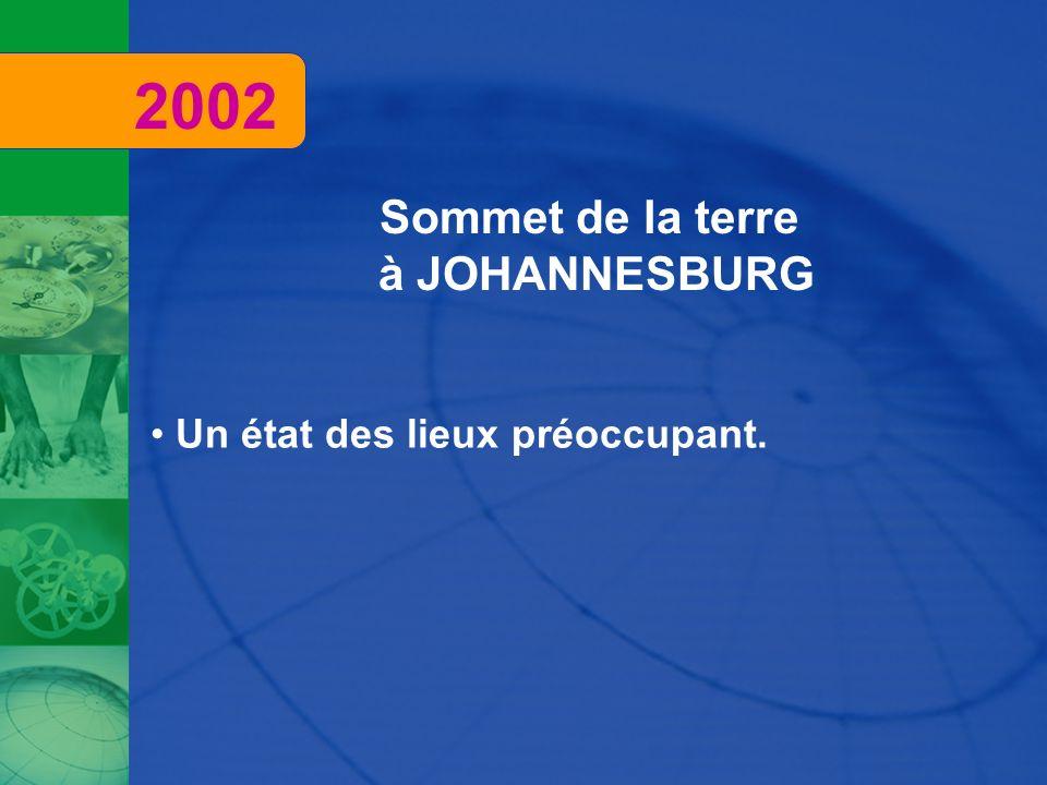 Sommet de la terre à JOHANNESBURG Un état des lieux préoccupant. 2002