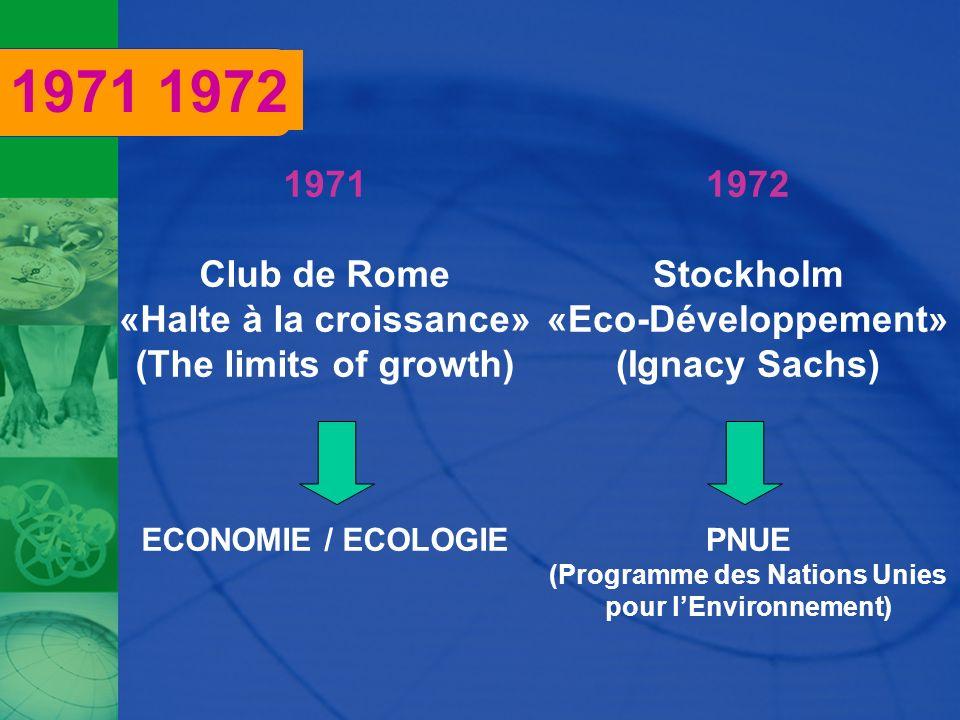 1971 Club de Rome «Halte à la croissance» (The limits of growth) ECONOMIE / ECOLOGIE 1972 Stockholm «Eco-Développement» (Ignacy Sachs) PNUE (Programme