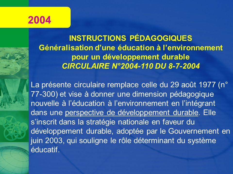 2004 INSTRUCTIONS PÉDAGOGIQUES Généralisation dune éducation à lenvironnement pour un développement durable CIRCULAIRE N°2004-110 DU 8-7-2004 La prése