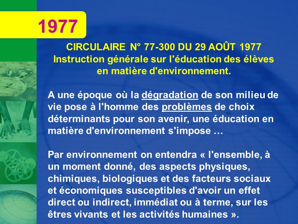 CIRCULAIRE N° 77-300 DU 29 AOÛT 1977 Instruction générale sur l'éducation des élèves en matière d'environnement. A une époque où la dégradation de son
