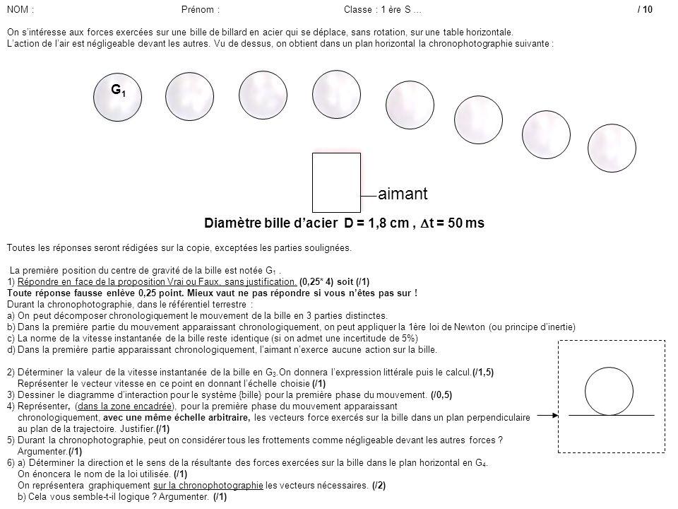Longueur rame 1,30 m Diamètre bille dacier D = 1,8 cm, t = 50 ms aimant G1G1 Toutes les réponses seront rédigées sur la copie, exceptées les parties s