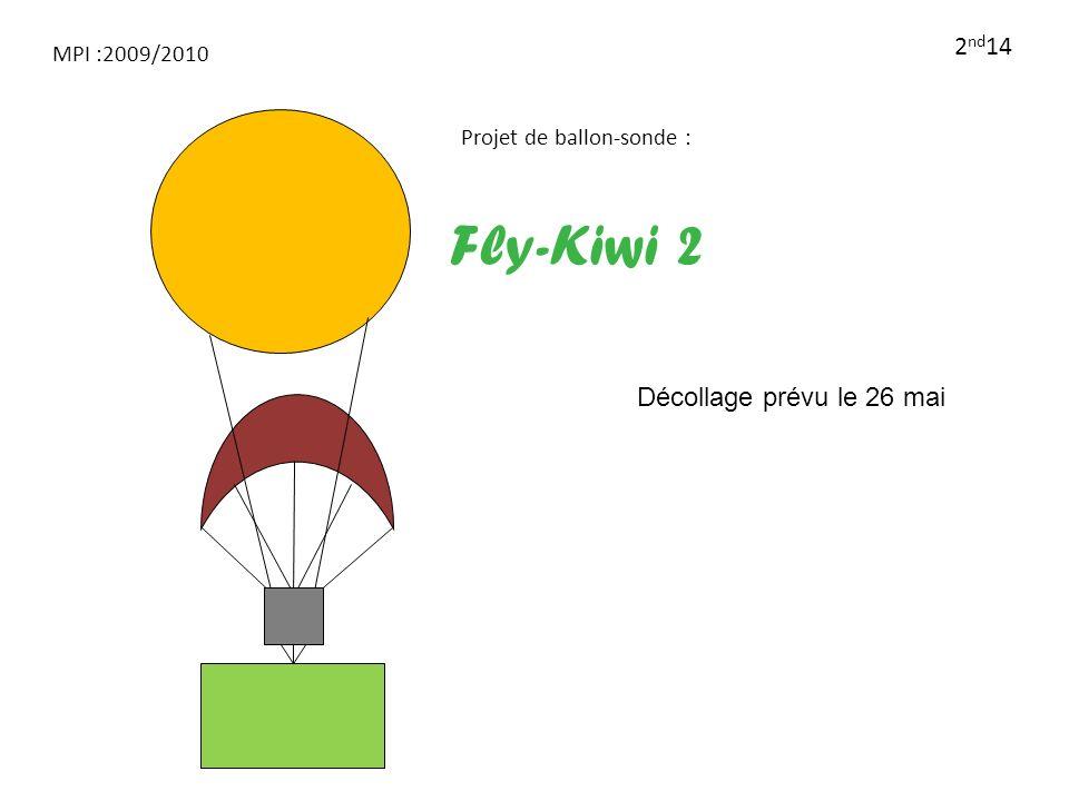 MPI :2009/2010 2 nd 14 Projet de ballon-sonde : Fly-Kiwi 2 Décollage prévu le 26 mai