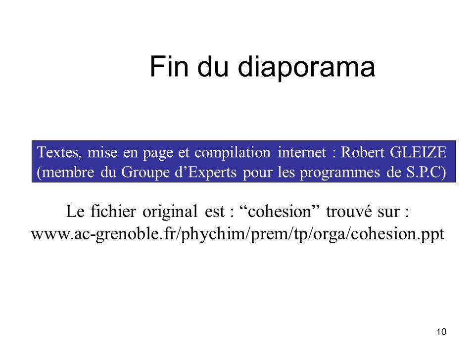 10 Fin du diaporama Textes, mise en page et compilation internet : Robert GLEIZE (membre du Groupe dExperts pour les programmes de S.P.C) Le fichier o