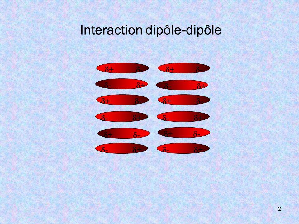 3 Interaction dipôle-dipôle par « Liaison hydrogène » Un cas particulier dinteraction dipôle-dipôle, est celui de la « liaison hydrogène ».