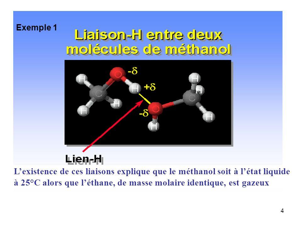 4 Lexistence de ces liaisons explique que le méthanol soit à létat liquide à 25°C alors que léthane, de masse molaire identique, est gazeux Exemple 1