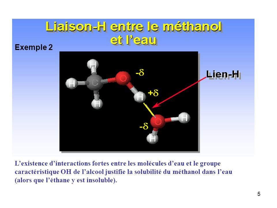 5 Lexistence dinteractions fortes entre les molécules deau et le groupe caractéristique OH de lalcool justifie la solubilité du méthanol dans leau (al