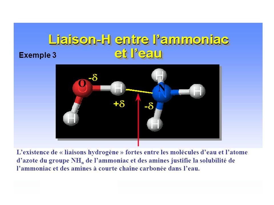 6 Lexistence de « liaisons hydrogène » fortes entre les molécules deau et latome dazote du groupe NH n de lammoniac et des amines justifie la solubili