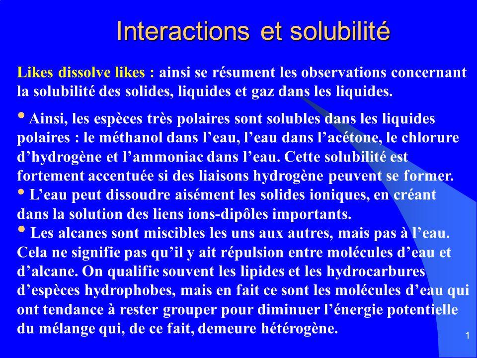 1 Interactions et solubilité Interactions et solubilité Likes dissolve likes : ainsi se résument les observations concernant la solubilité des solides
