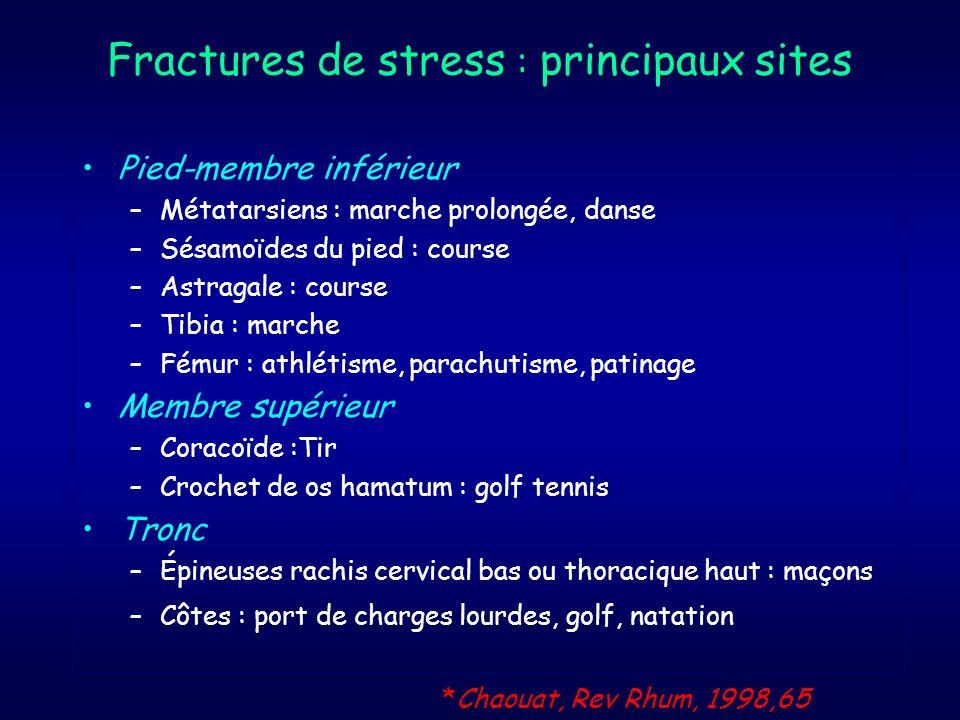 Fractures pathologiques Surviennent sur un os anormal (néoplasie ou infection) pour un stress modéré Fibrome non ossifiantMétastase