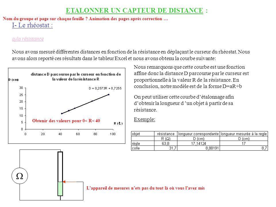 ETALONNER UN CAPTEUR DE DISTANCE : I- Le rhéostat : a)la résistance Nous avons mesuré différentes distances en fonction de la résistance en déplaçant
