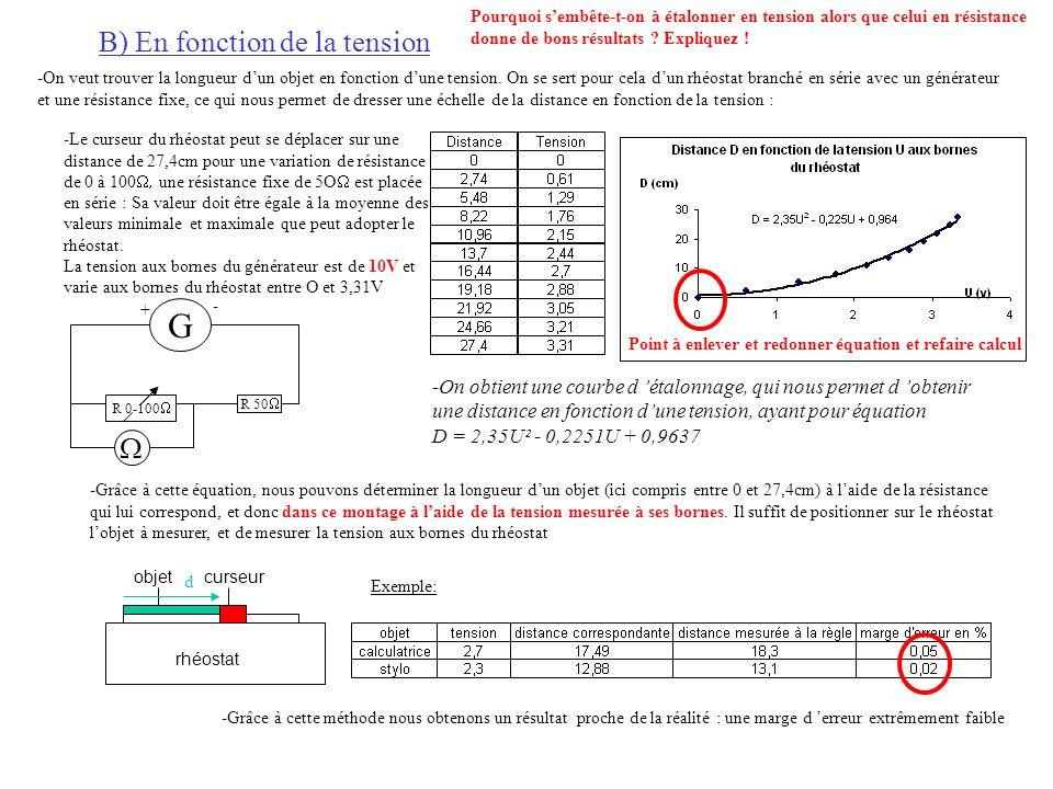B) En fonction de la tension -On veut trouver la longueur dun objet en fonction dune tension.