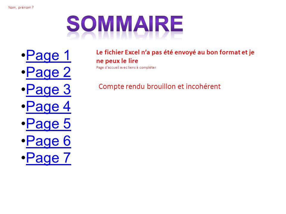 Page 1 Page 2 Page 3 Page 4 Page 5 Page 6 Page 7 Le fichier Excel na pas été envoyé au bon format et je ne peux le lire Page daccueil avec liens à com