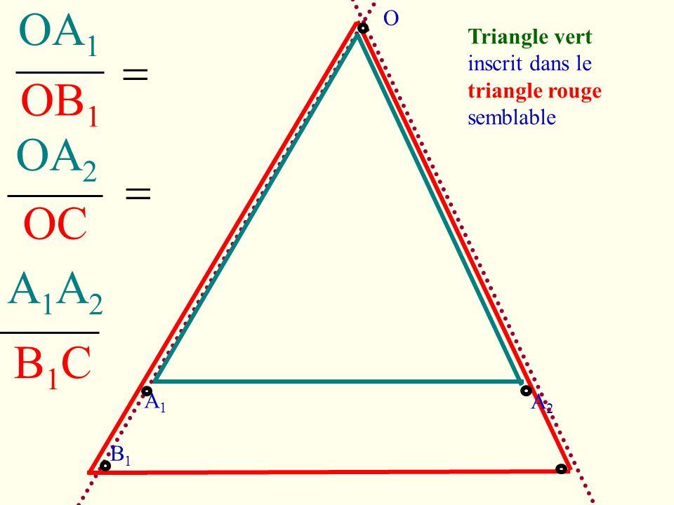 OC OB 1 OA 1 OA 2 A1A2A1A2 B1CB1C Triangle vert inscrit dans le triangle rouge semblable A1A1 A2A2 B1B1 O