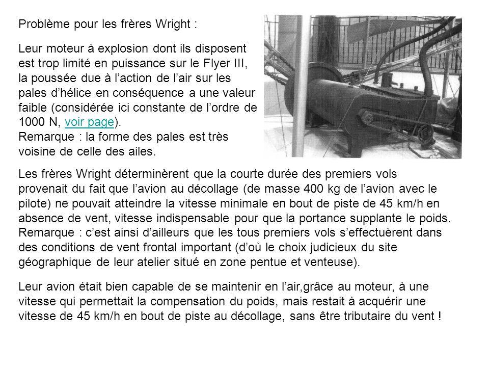 Les frères Wright déterminèrent que la courte durée des premiers vols provenait du fait que lavion au décollage (de masse 400 kg de lavion avec le pil