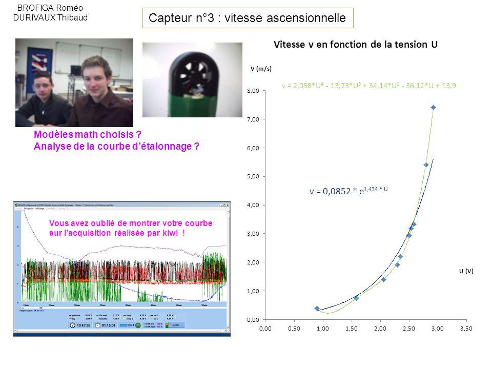 Capteur n°3 : vitesse ascensionnelle BROFIGA Roméo DURIVAUX Thibaud Modèles math choisis .