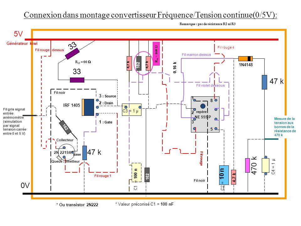 47 k 470 k 47 k 33 5V 0V Générateur kiwi C3 = 1 µ C4 = 1 µ C2 = 10 n IRF 1405 1 : Gate 2 : Drain 3 : Source Queue : émetteur Collecteur base Fil gris signal entrée anémomètre (simulation par signal tension carrée entre 0 et 5 V) 2N 2219A* NE 555 P repère 1 3 5 4,7 k 8 C1 = 100 n Fil noir Fil violet dessous 2 Fil rouge 1 Fil marron dessus Fil rouge dessus Fil rouge 4 162 4,7 k 1N4148 * Ou transistor 2N222 * Valeur préconisé C1 = 100 nF Connexion dans montage convertisseur Fréquence/Tension continue(0/5V): Remarque : pas de résistance R2 ni R3 R 10 = 66 162 0.16 k Fil rouge Fil noir 162 4,7 k R éq = 160 Mesure de la tension aux bornes de la résistance de 470 k