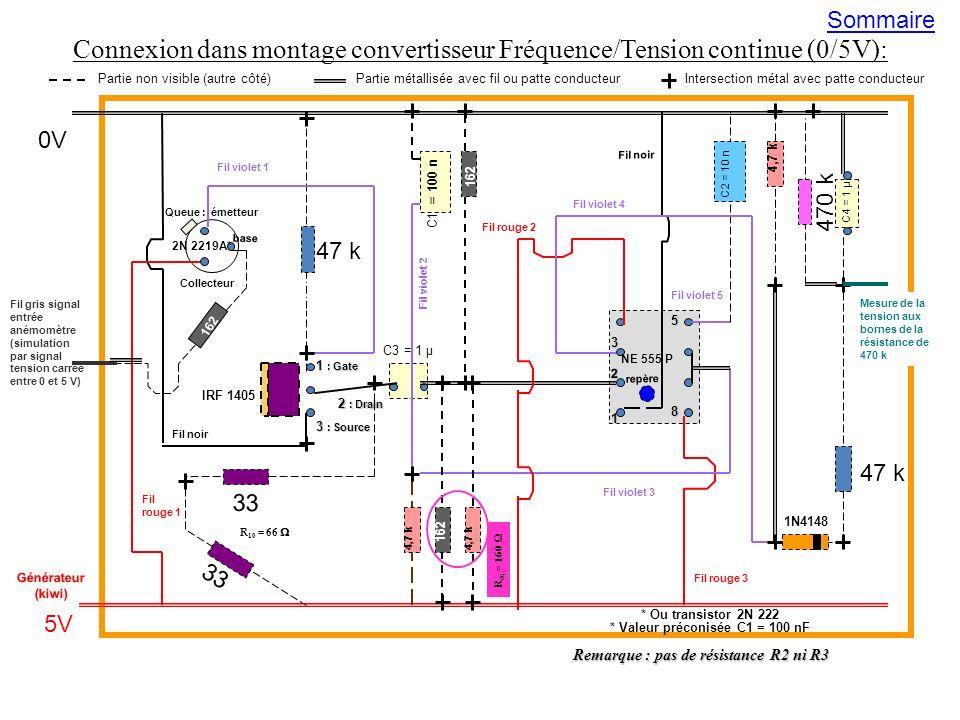 Connexion dans montage convertisseur Fréquence/Tension continue (0/5V): Remarque : pas de résistance R2 ni R3 47 k 470 k 47 k 33 5V 0V Générateur (kiw