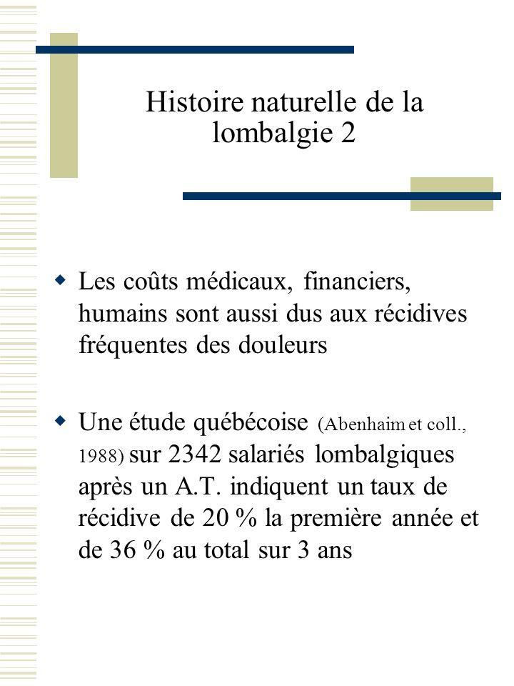 Histoire naturelle de la lombalgie 2 Les coûts médicaux, financiers, humains sont aussi dus aux récidives fréquentes des douleurs Une étude québécoise