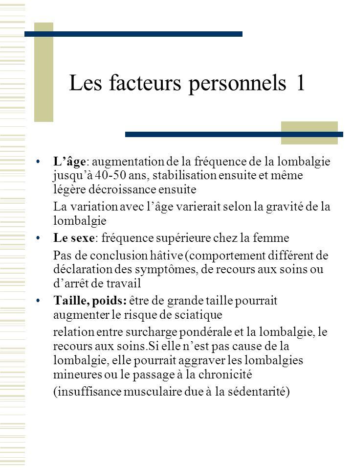 Les facteurs personnels 1 Lâge: augmentation de la fréquence de la lombalgie jusquà 40-50 ans, stabilisation ensuite et même légère décroissance ensui