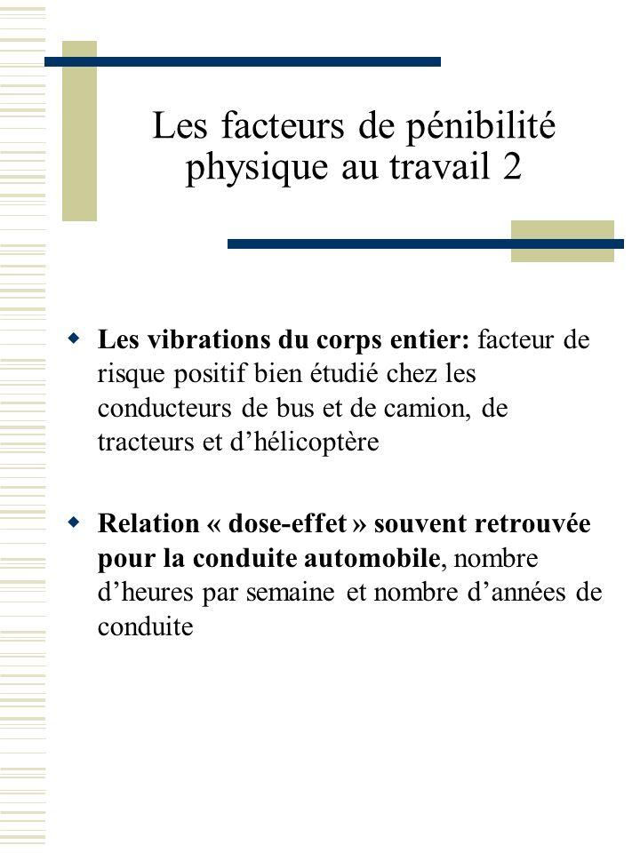 Les facteurs de pénibilité physique au travail 2 Les vibrations du corps entier: facteur de risque positif bien étudié chez les conducteurs de bus et