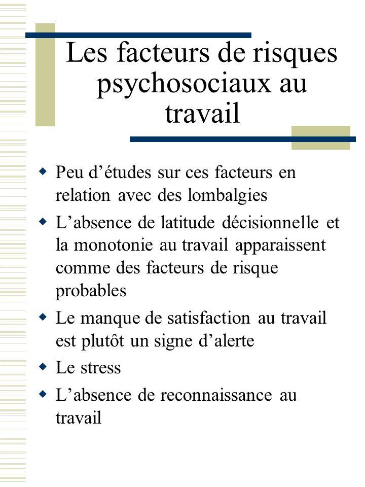 Les facteurs de risques psychosociaux au travail Peu détudes sur ces facteurs en relation avec des lombalgies Labsence de latitude décisionnelle et la