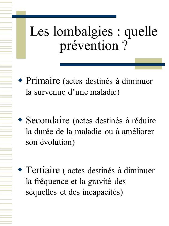 Les lombalgies : quelle prévention ? Primaire (actes destinés à diminuer la survenue dune maladie) Secondaire (actes destinés à réduire la durée de la