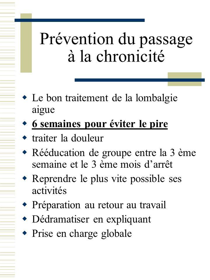 Prévention du passage à la chronicité Le bon traitement de la lombalgie aigue 6 semaines pour éviter le pire traiter la douleur Rééducation de groupe