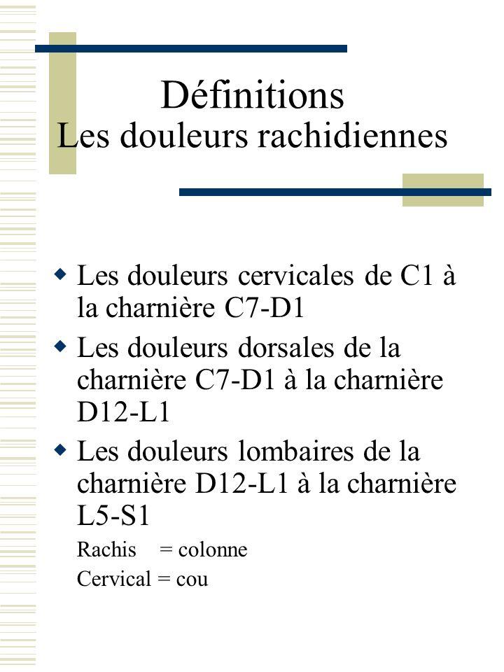 Définitions Les douleurs rachidiennes Les douleurs cervicales de C1 à la charnière C7-D1 Les douleurs dorsales de la charnière C7-D1 à la charnière D1
