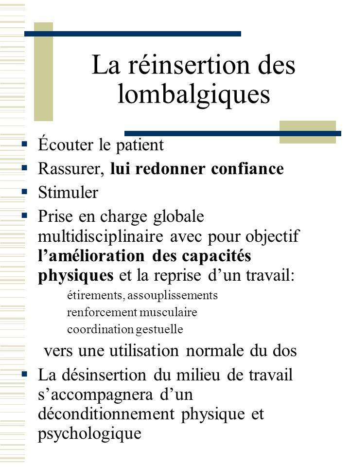 La réinsertion des lombalgiques Écouter le patient Rassurer, lui redonner confiance Stimuler Prise en charge globale multidisciplinaire avec pour obje