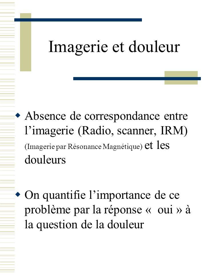 Imagerie et douleur Absence de correspondance entre limagerie (Radio, scanner, IRM) (Imagerie par Résonance Magnétique) et les douleurs On quantifie l