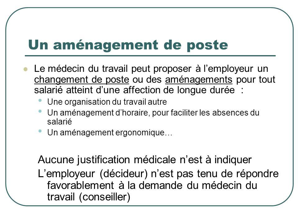 Un aménagement de poste Le médecin du travail peut proposer à lemployeur un changement de poste ou des aménagements pour tout salarié atteint dune aff