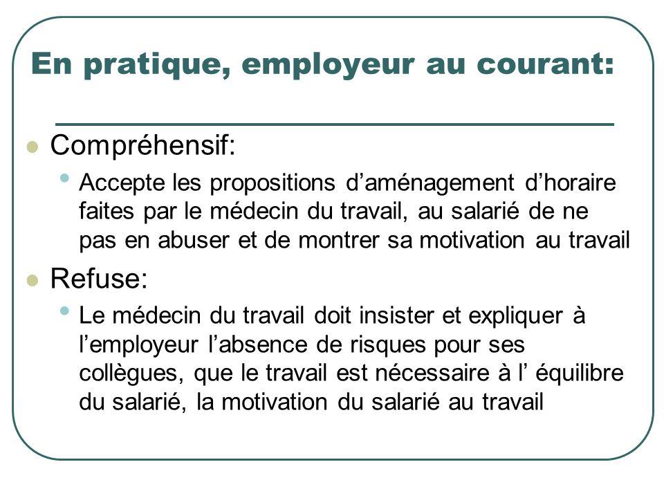 En pratique, employeur au courant: Compréhensif: Accepte les propositions daménagement dhoraire faites par le médecin du travail, au salarié de ne pas
