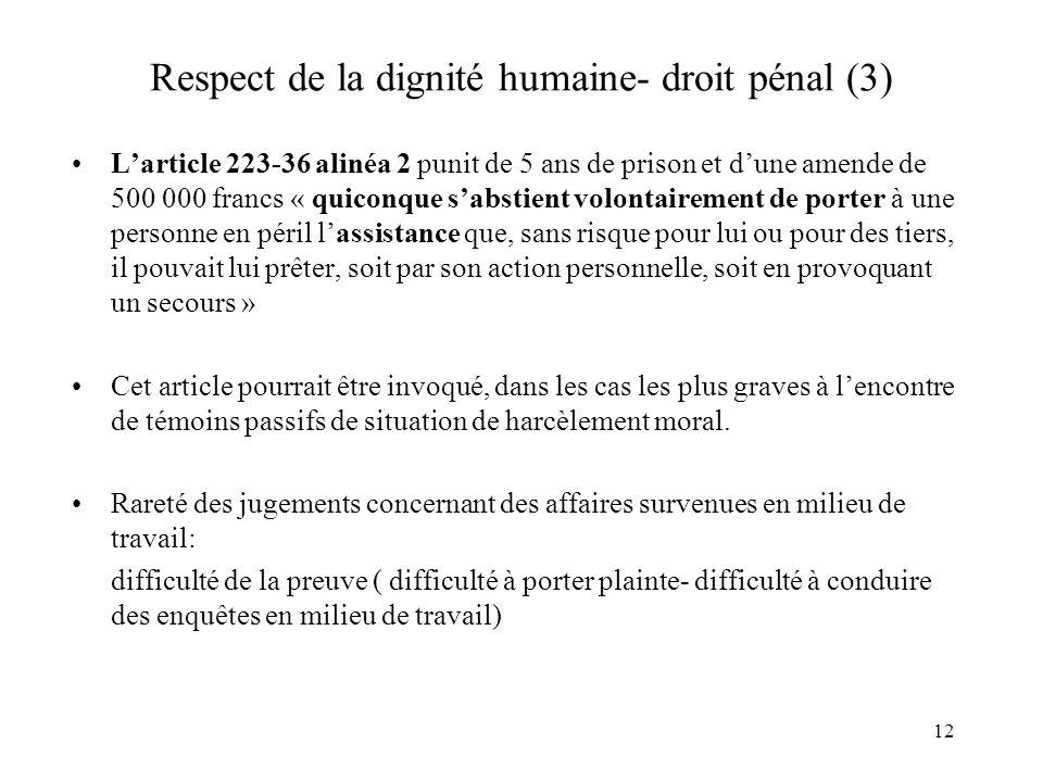 13 Respect de la dignité humaine- droit pénal (4) LArt.