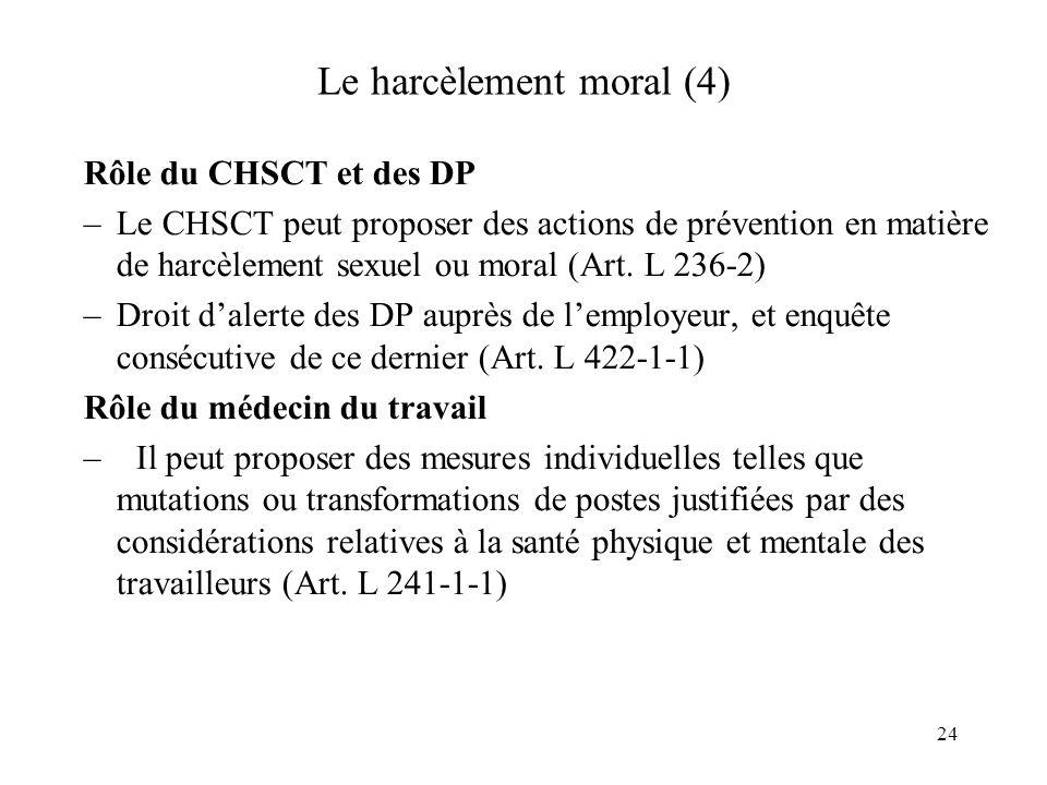 25 Le harcèlement moral (5) La fonction publique: –La loi reprend, en les aménageant, les dispositions de lArt.