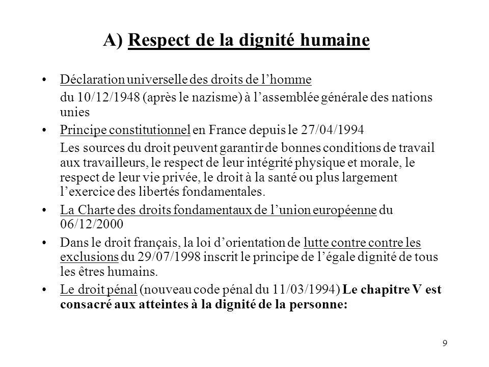 10 Respect de la dignité humaine- le droit pénal (1) -lart.225-14 « Le fait de soumettre une personne, en abusant de sa vulnérabilité ou de situation de dépendance, à des conditions de travail ou dhébergement incompatible avec la dignité humaine est puni de 2 ans demprisonnement et de 500 000 F damende ».